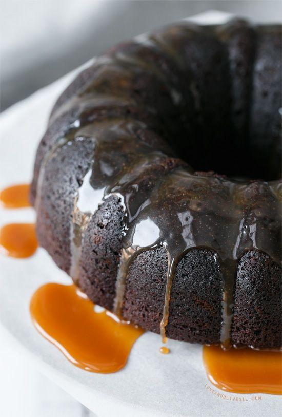 Chocolate Whiskey Bundt Cake with Whiskey Caramel Sauce ...