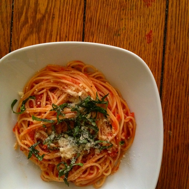 pasta in san marzano tomato sauce drizzled with basil, garlic ...