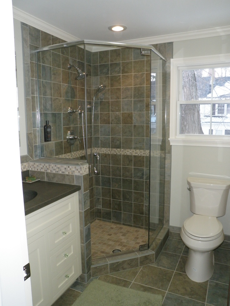 Small condo bath custom tile shower bathrooms pinterest for Bathroom ideas shower only