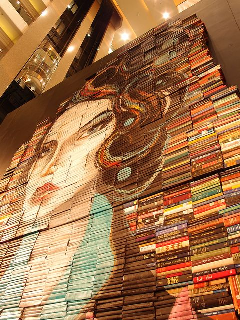 Face painted on book jackets...amazing.