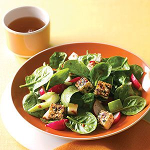 Spinach Dinner Salad with Sesame Tofu dinner tonight.
