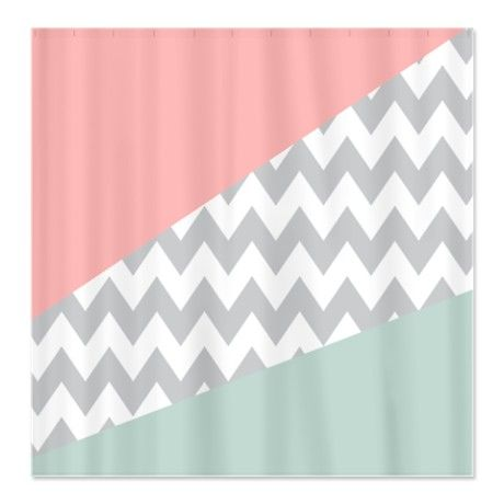 Coral Mint Green Chevron Abstract Shower Curtain Around The House Pinterest