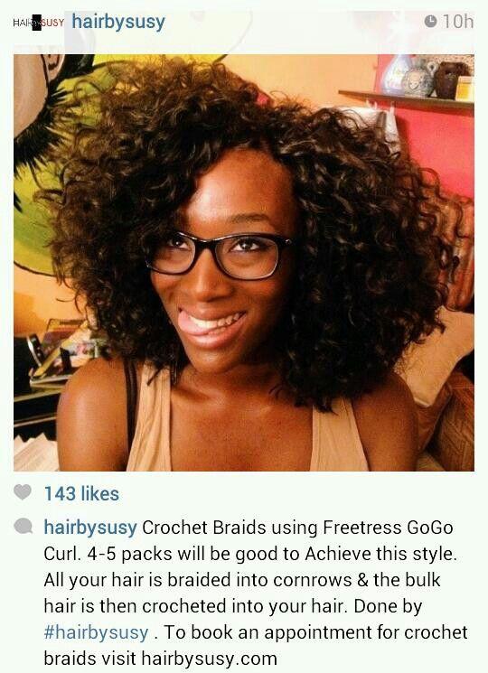 Freetress Crochet Hair Gogo Curl : Crochet Braids using Freetress GoGo Curl #hair Natural hair ...