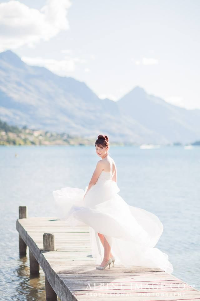 bridal hair style top knot Queenstown wedding photography by Alpine ...