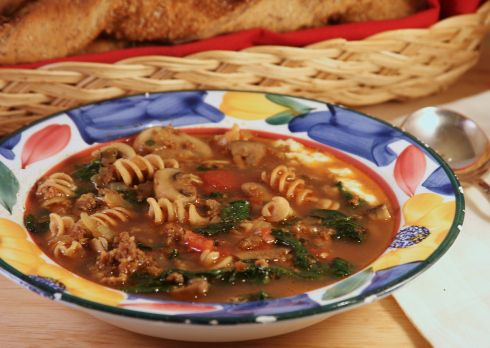 lasagna soup with whole wheat spiral noodles