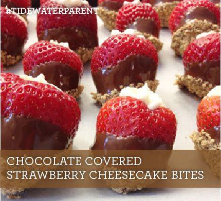 Chocolate Covered Strawberry Cheesecake Bites #tidewaterparent