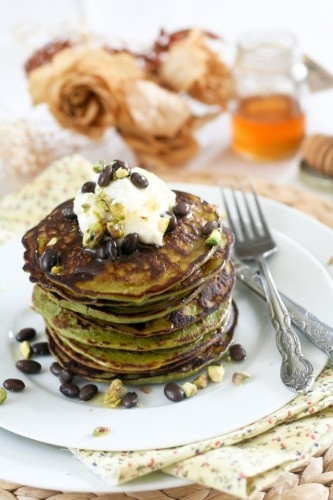 matcha green tea coconut pancakes