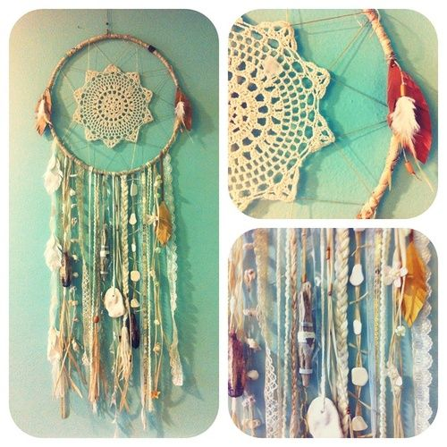 I'm thinking take an old embroidery hoop and crochet a doily and hang some stash yarn on this with a few collectibles and this would be quite the Fiber Lovers dream catcher!