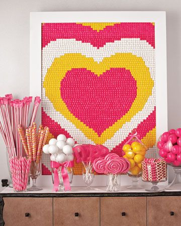 Heart shaped mosaic made of chicklets - so cute!