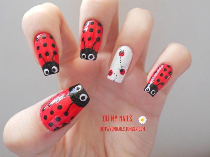 Adorable ladybug nail art | Nails | Pinterest