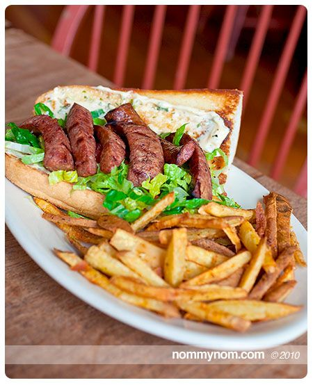 Andouille sausage po-boy and Creole seasoned frites, definitely not my ...