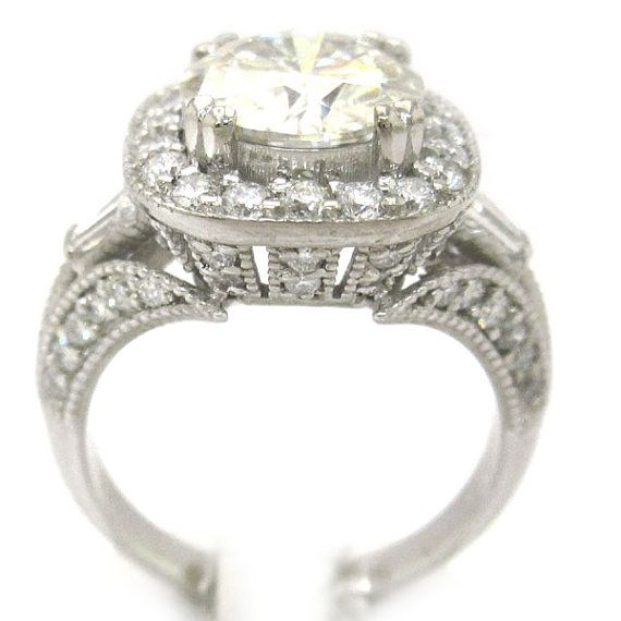 Round cut diamond engagement ring 2 80ctw 18k