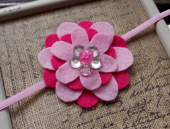 Dark Pink and Light Pink Stacked Felt Flower by SweetTBabyBoutique, $6 ...