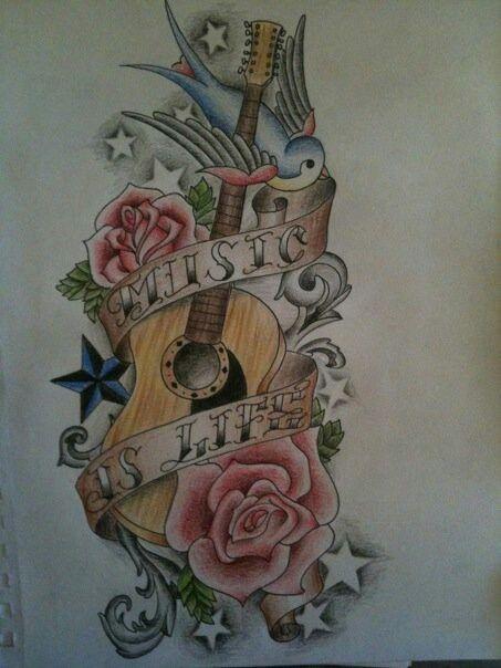 Guitar Tattoo  Flash Pinterest