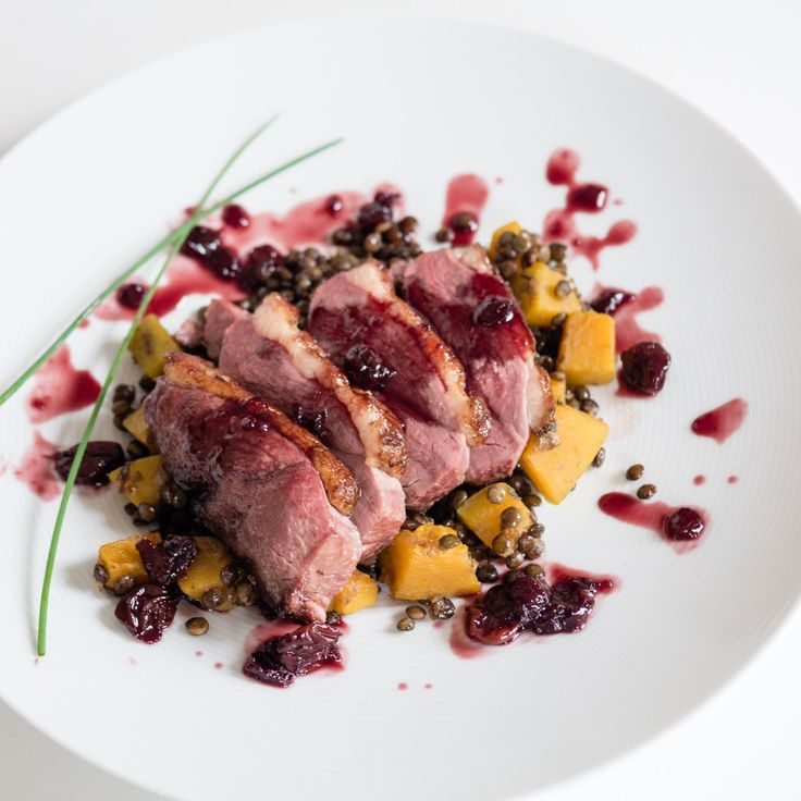 DUCK WITH MORELLO CHERRY SAUCE; PUY LENTILS WITH KABOCHA SQUASH
