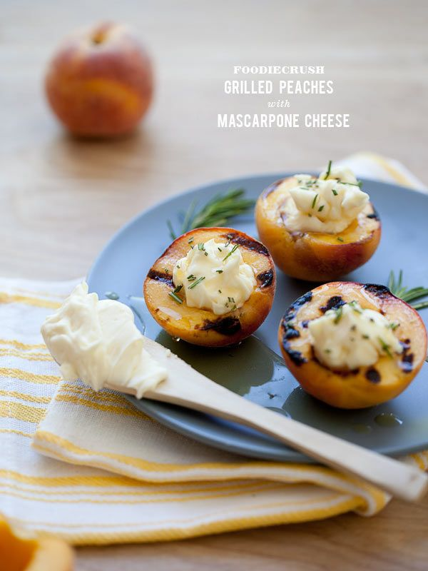 Grilled Peaches with Mascarpone Cheese | desserts | Pinterest