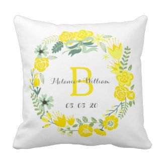 Floral Wreath Personalized Wedding Throw Pillow