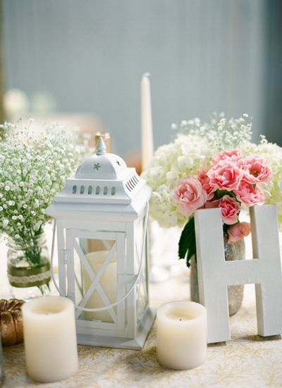 Lantern centerpieces with mason jar and babies breath