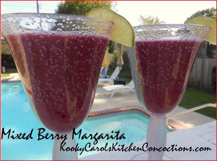 Tequila, fresh berries, lime, splenda, mixed berry sherbet, ice