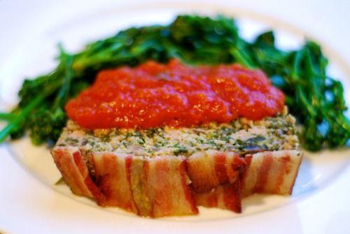 Super Porktastic Bacon-Topped Spinach and Mushroom Meatloaf Nom Nom ...