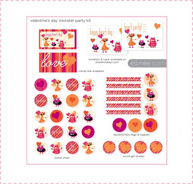 {Freebie-Valentine's Day} Such a cute Valentine's Day Party Printable-Get Flags, Cupcake Toppers, Party Circles, Party Invitation and candy bar wraps