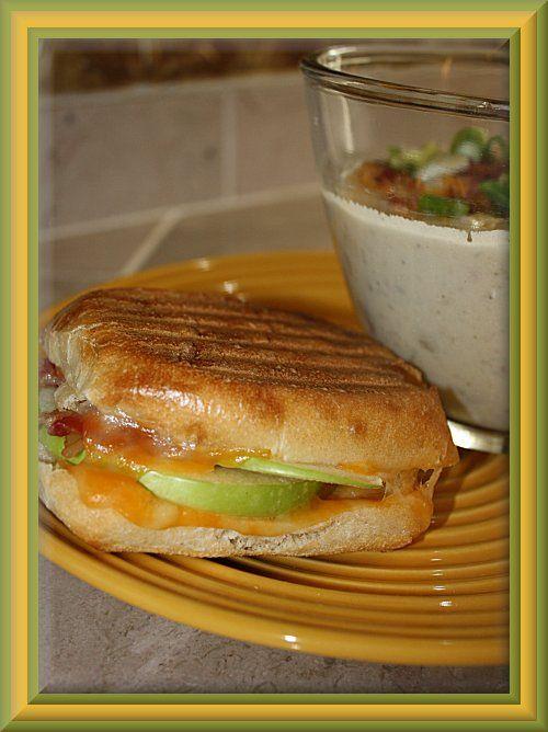 Bacon Cheddar Bagel Panini Recipe — Dishmaps