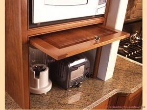 Appliance garage home design ideas pinterest - Retractable kitchen cabinet doors ...