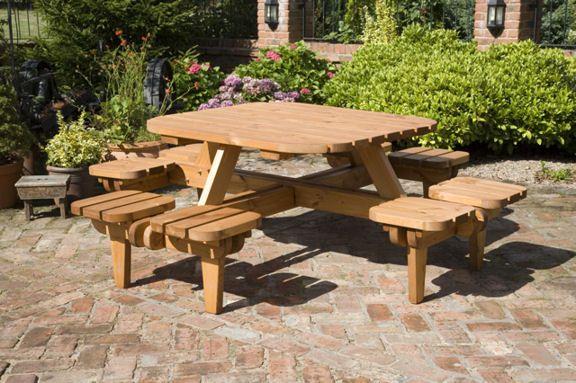 A Unique Wooden Picnic Table Live Outside Pinterest