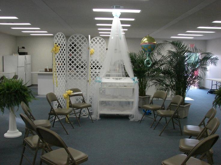 Baby shower decor in church fellowship hall baby shower for Baby shower party hall decoration ideas