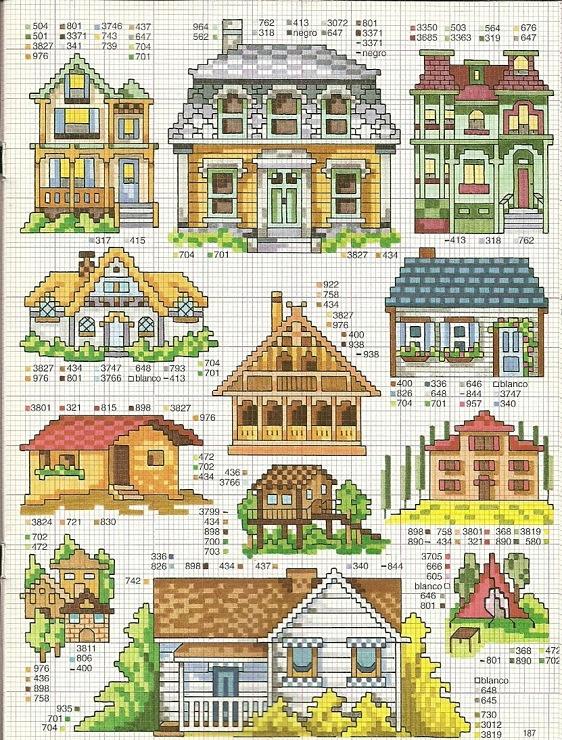 Английский домик схема вышивки 100