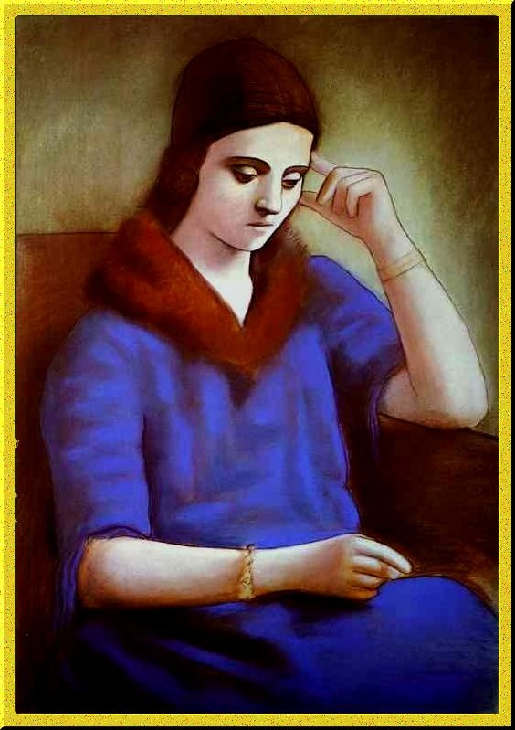 the portrait of olga by pablo Olga, 1923 by pablo picasso, neoclassicist & surrealist period neoclassicism portrait private collection.