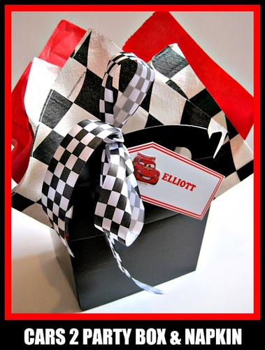 Disney Wedding Gift Card Box : Disney cars black empty party bag box with personalised gift tag wedd ...