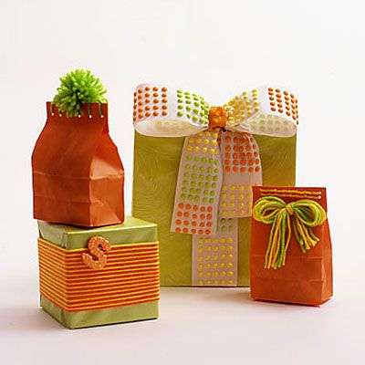 Dress up presents with candy-colored gift wrap
