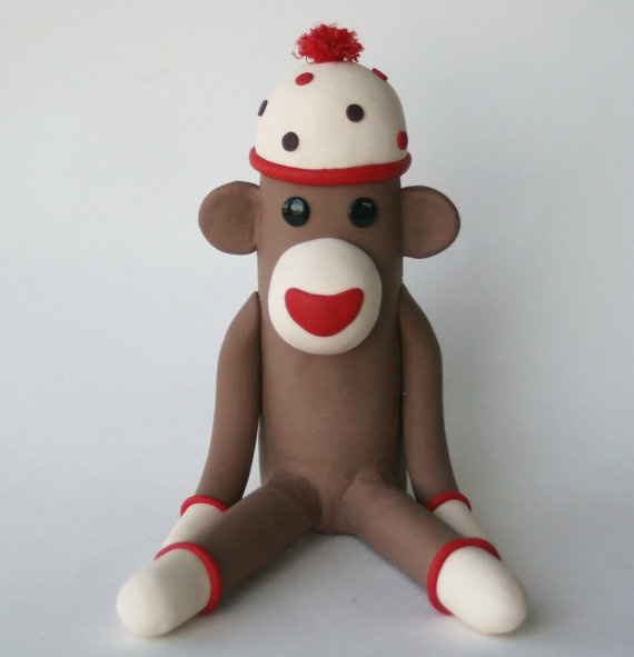 Sock Monkey Birthday Cake Topper 45 inch Fondant by SpiritMama, $65.00