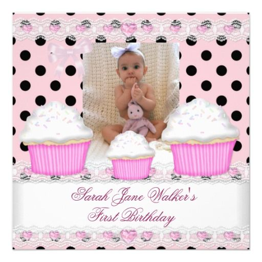 Black White Baby Announcements First Birthday Girl Pink Cupcakes Black ...
