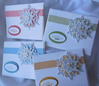 301 - PENNY TOKENS STAMPIN SPOTA new batch of Christmas cards using Stampin' Ups bundle Festive Flurry!  Love it.