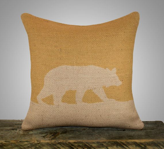 Mustard Throw Pillow Covers : Bear Pillow Cover, Mustard Yellow Burlap Throw Pillow, Decorative Pil?