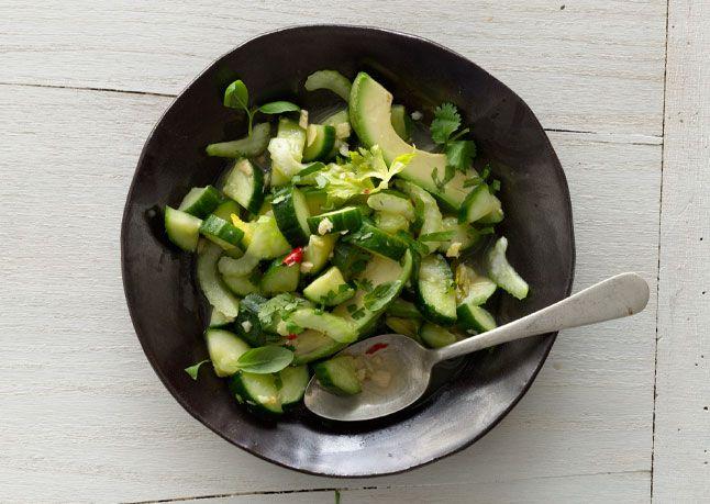 Cucumber and Avocado Salad.