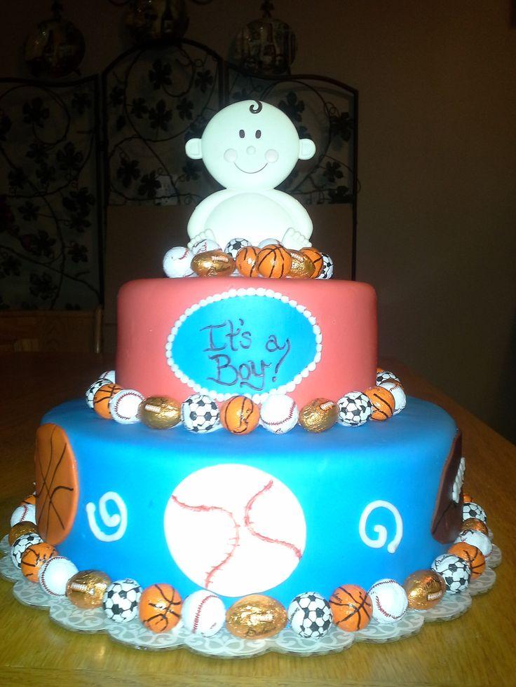 sports themed cake baby shower pinterest