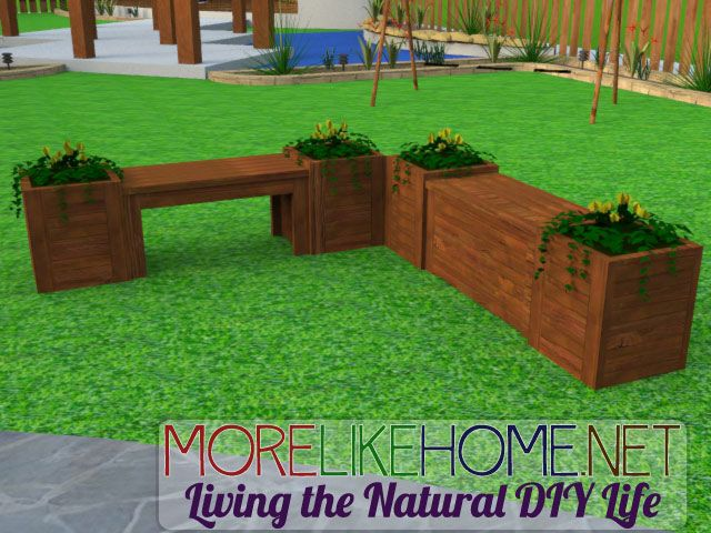 ... build square planter boxes & the bench between them - from More Like