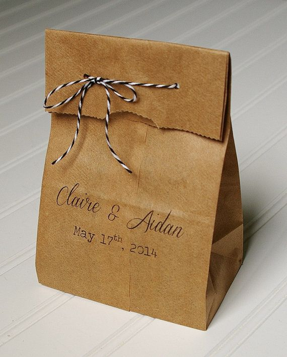 Personalized Wedding Favor Bags- Rustic Paper Bags in Custom Colors and Fonts. You were talking about possibly buying instead of DIYing paper bags. This is a lil pricey but would probably save a lil time and sanity.