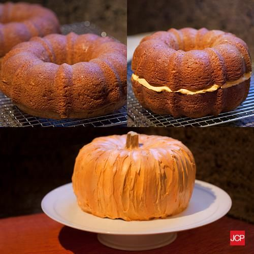 How to make a cake look like a pumpkin! (use ice cream cone for stem)
