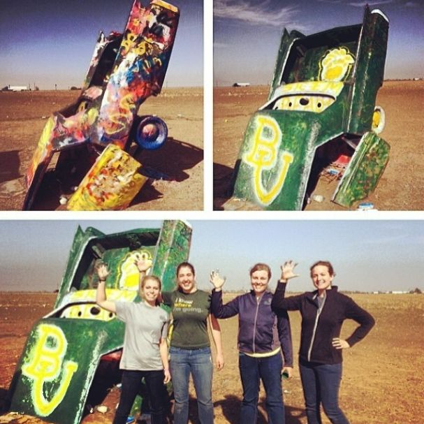 """""""We Baylor-ified a Cadillac at the Cadillac Ranch today! #SicEm"""" (via bayloruniversity and ck_berger on Instagram) #BaylorEverywhere"""