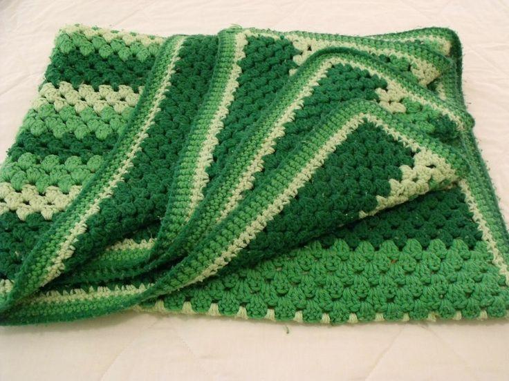 Green Crochet Afghan Pattern : Green Shades Stripe CROCHETED AFGHAN Throw Blanket 46