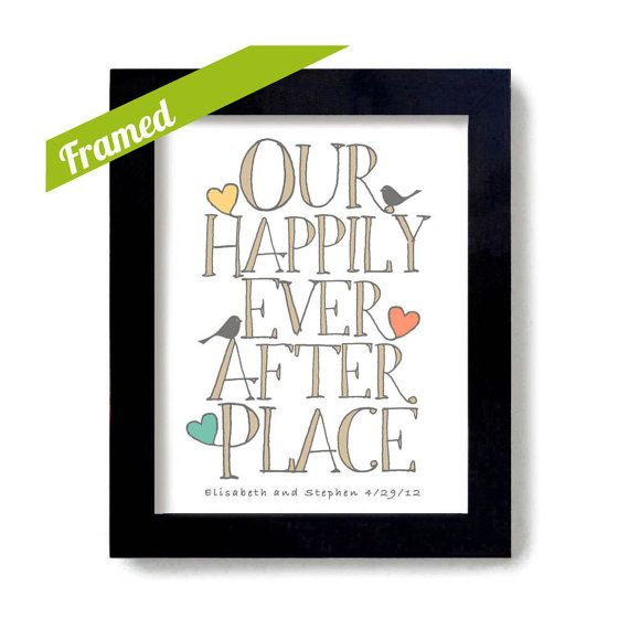 Housewarming Gift Framed Personalized Art Print Happily