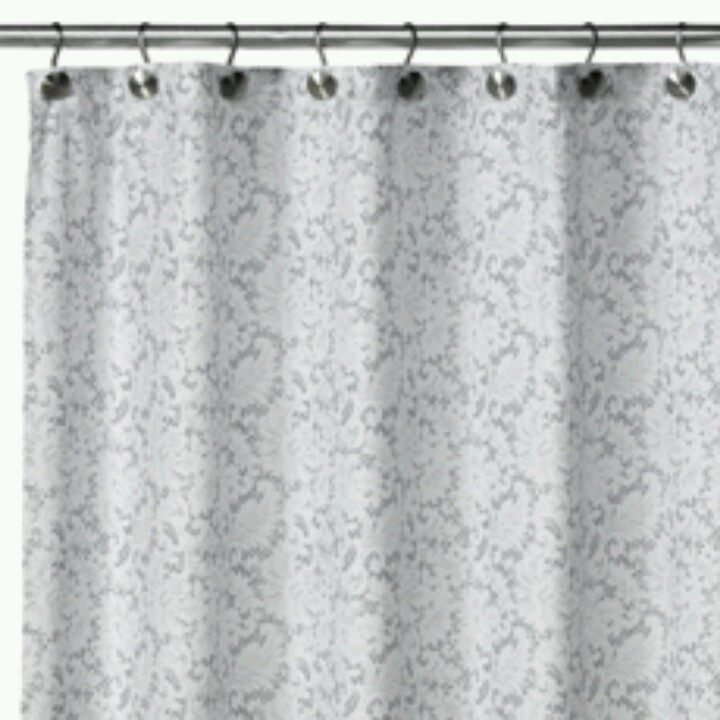 White Silver Shower Curtain Home Decor Pinterest