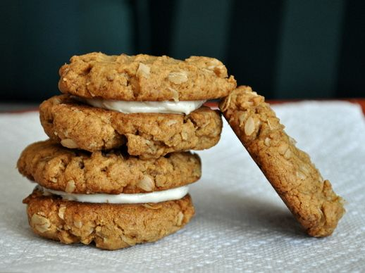 ... peanut butter oat cookies sandwich with salted honey butter cream