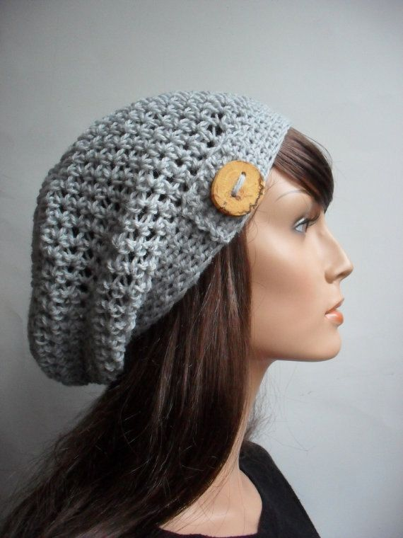 Crochet Pattern for HDC Button Tab Slouchy Hat, Tam, Toque ...