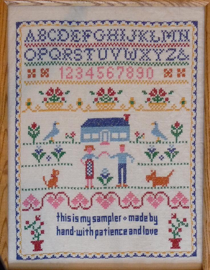 Jane snead samplers vintage stamped cross stitch kit