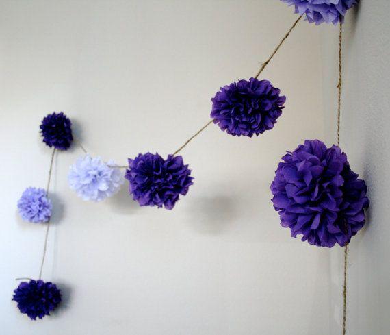Grape Soda diy tissue paper pom garland | b u r l a p . | Pinterest